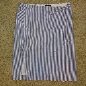 J.Crew Pencil Skirt in Blue and White Seersucker